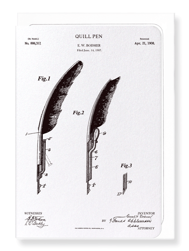 Ezen Designs - Patent of quill pen (1908) - Greeting Card - Front