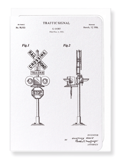 Ezen Designs - Patent of traffic signal (1936) - Greeting Card - Front