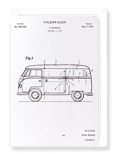 Ezen Designs - Patent of volkswagen (1975) - Greeting Card - Front