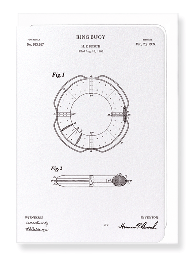 Ezen Designs - Patent of ring buoy (1909) - Greeting Card - Front