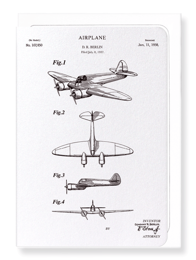 Ezen Designs - Patent of airplane (1938) - Greeting Card - Front