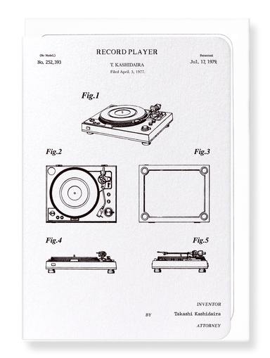 Ezen Designs - Patent of record player (1979) - Greeting Card - Front