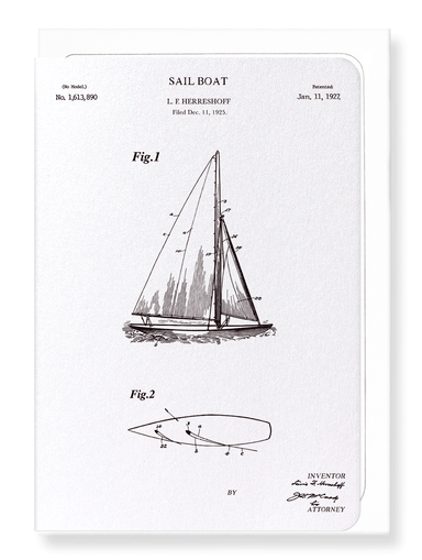 Ezen Designs - Patent of sail boat (1927) - Greeting Card - Front