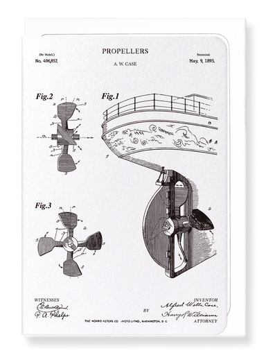 Ezen Designs - Patent of propellers (1893) - Greeting Card - Front