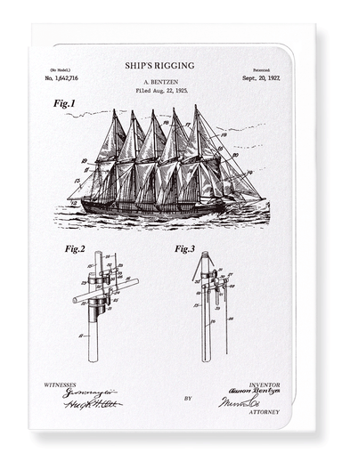 Ezen Designs - Patent of ship's rigging (1927) - Greeting Card - Front