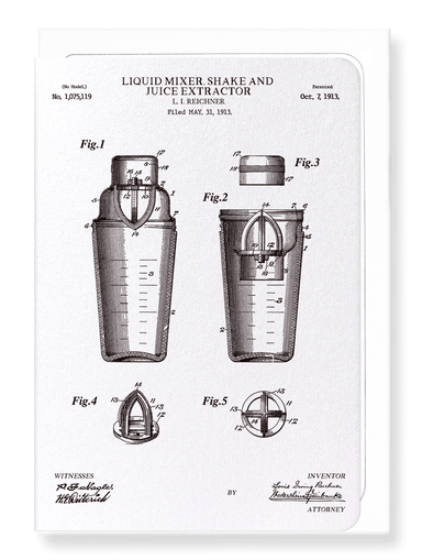 Ezen Designs - Patent of liquid mixer, shake & juice extractor (1913) - Greeting Card - Front