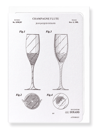 Ezen Designs - Patent of champagne flute (1988) - Greeting Card - Front
