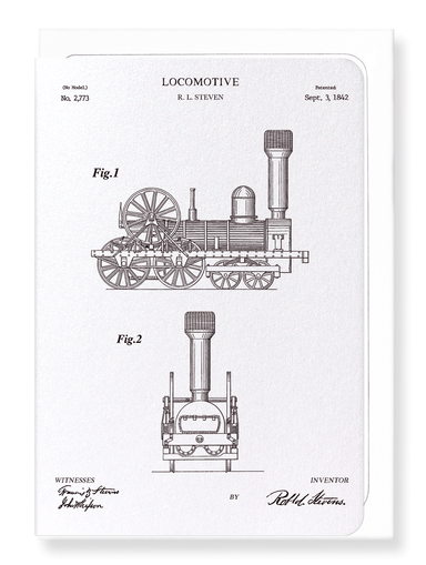Ezen Designs - Patent of locomotive (1842) - Greeting Card - Front