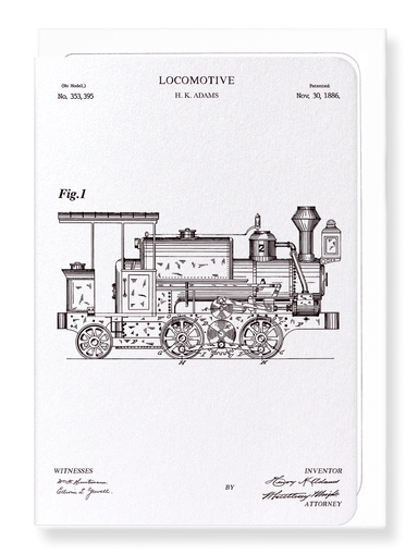 Ezen Designs - Patent of locomotive (1886) - Greeting Card - Front