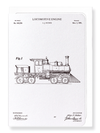 Ezen Designs - Patent of locomotive engine (1891) - Greeting Card - Front