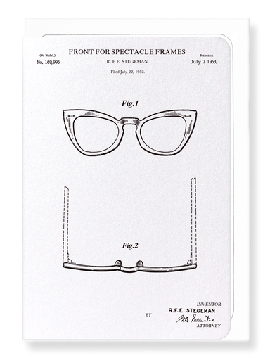 Ezen Designs - Patent of spectacle frames (1953) - Greeting Card - Front