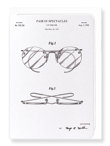 Ezen Designs - Patent of eyeglasses (1908) - Greeting Card - Front