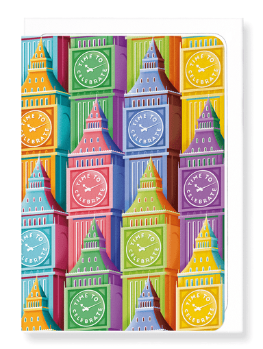 Ezen Designs - Colourful big ben - Greeting Card - Front