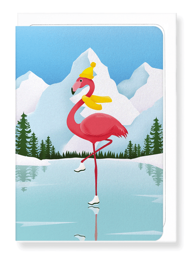 Ezen Designs - Winter flamingo - Greeting Card - Front