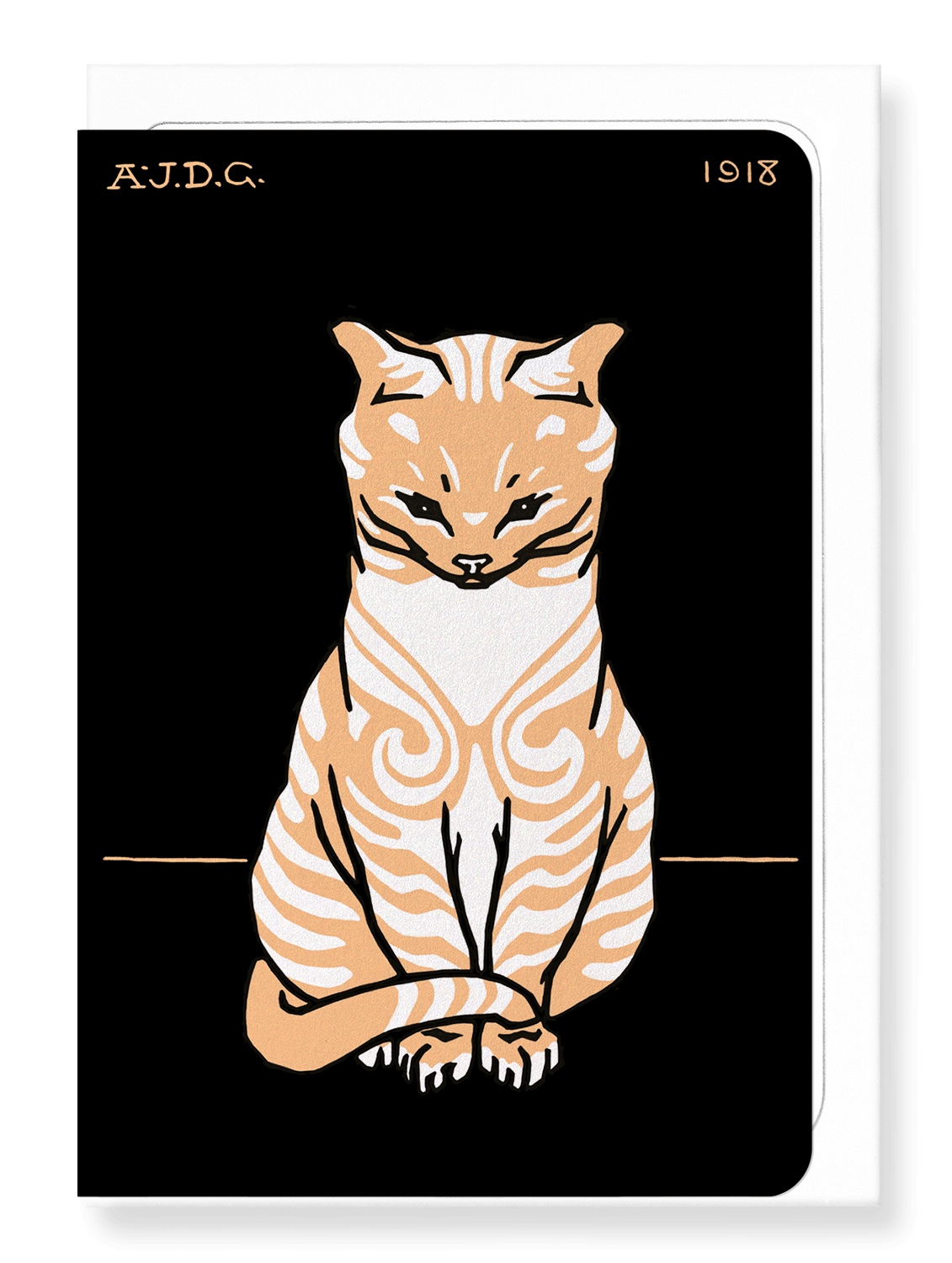 Ezen Designs - Sitting cat (1918) - Greeting Card - Front