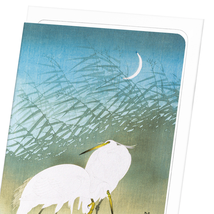 EGRETS AND CRESCENT MOON: 8xCards