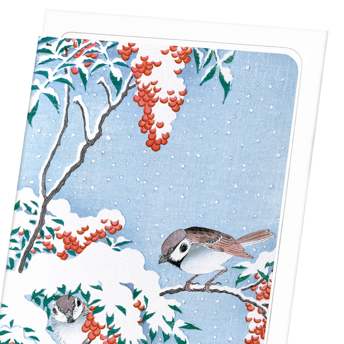 SPARROWS ON NANDINA: 8xCards