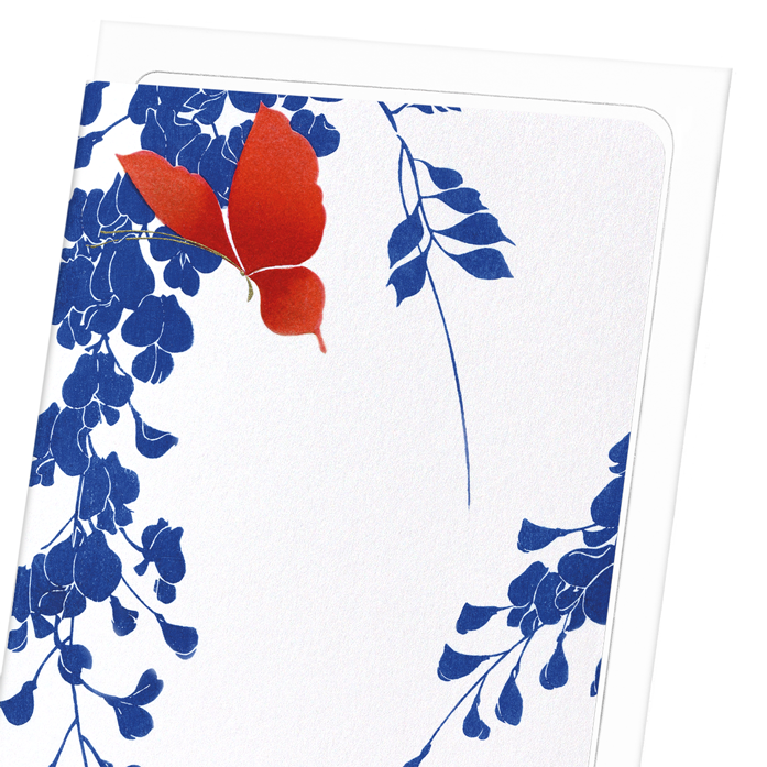 RED BUTTERFLY AND WISTERIA: 8xCards