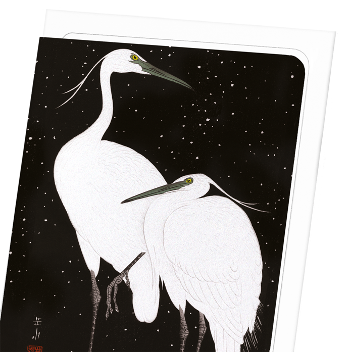 HERONS IN THE SNOW: 8xCards