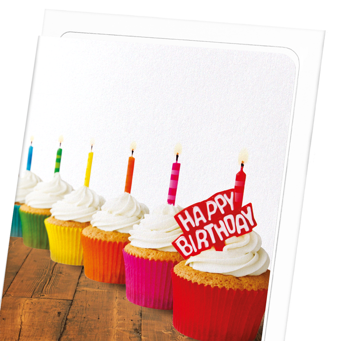 RAINBOW OF BIRTHDAY CUPCAKES: 8xCards