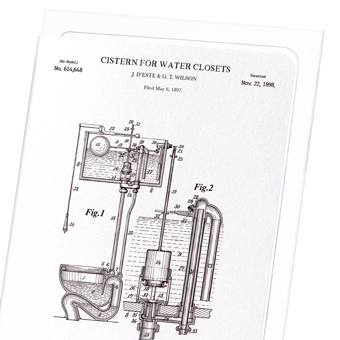 PATENT OF CISTERN FOR WATER CLOSETS (1898): 8xCards