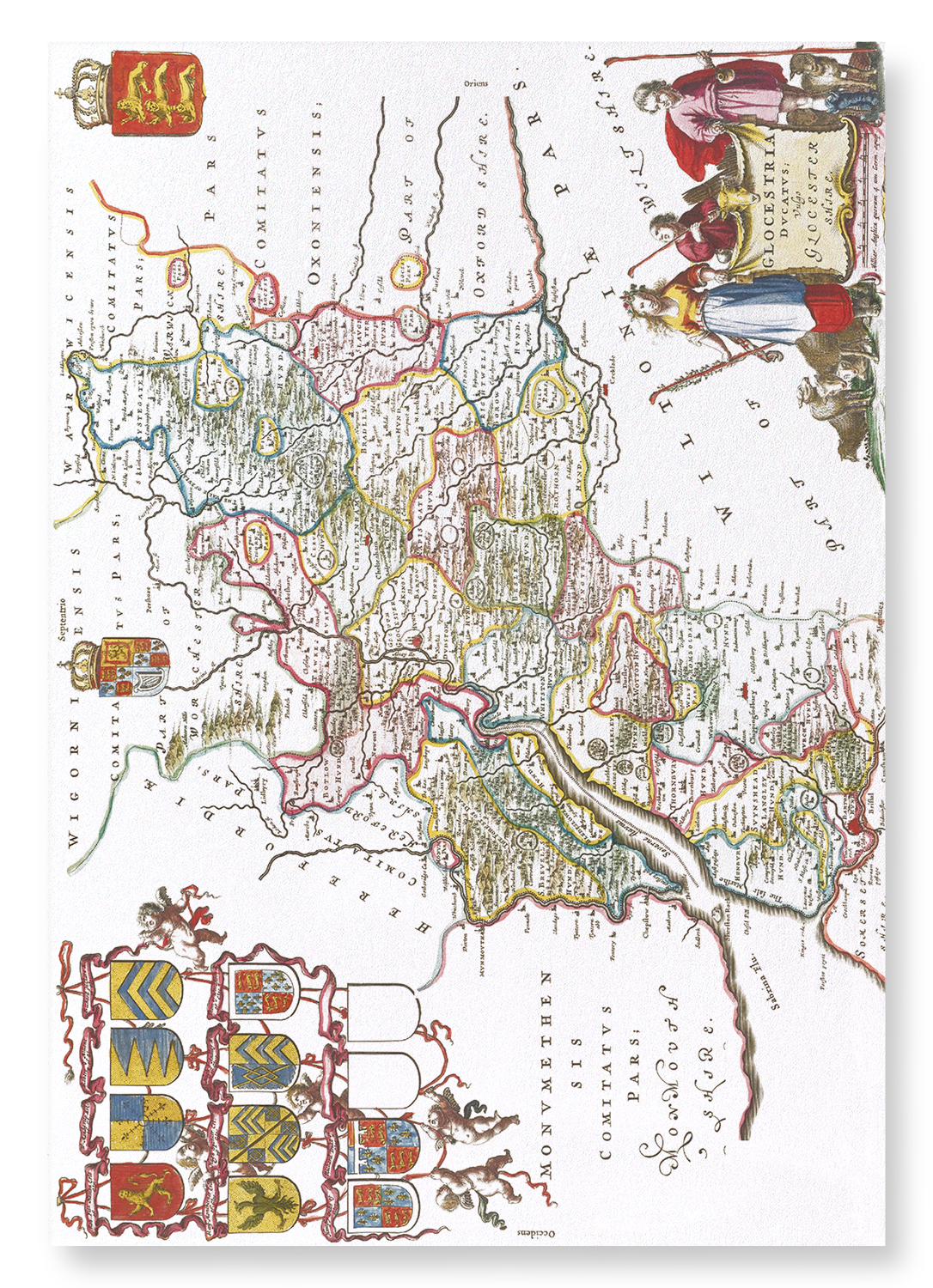 MAP OF GLOUCESTERSHIRE (1665): 2xPrints