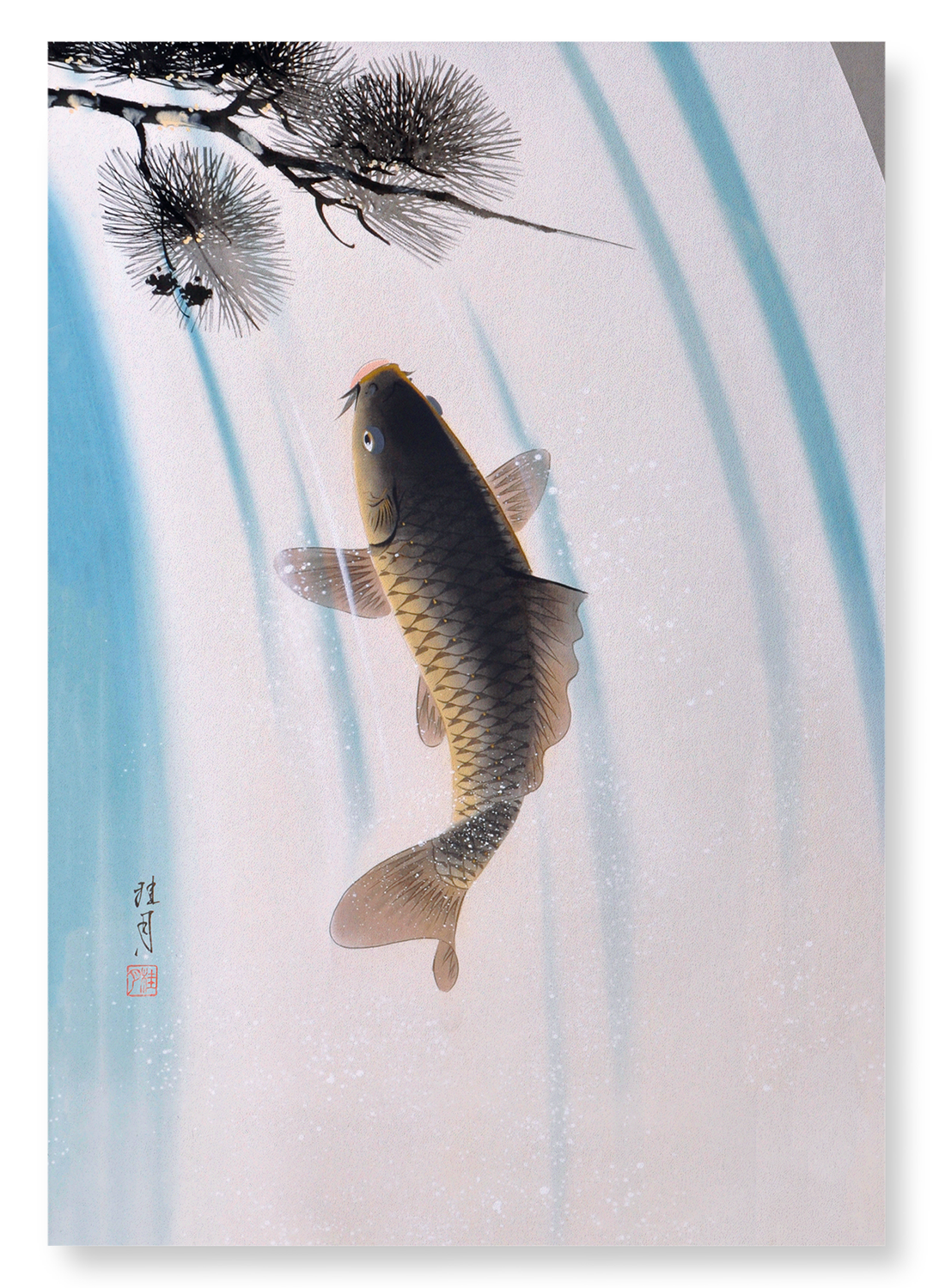 CARP AND WATERFALL: 2xPrints
