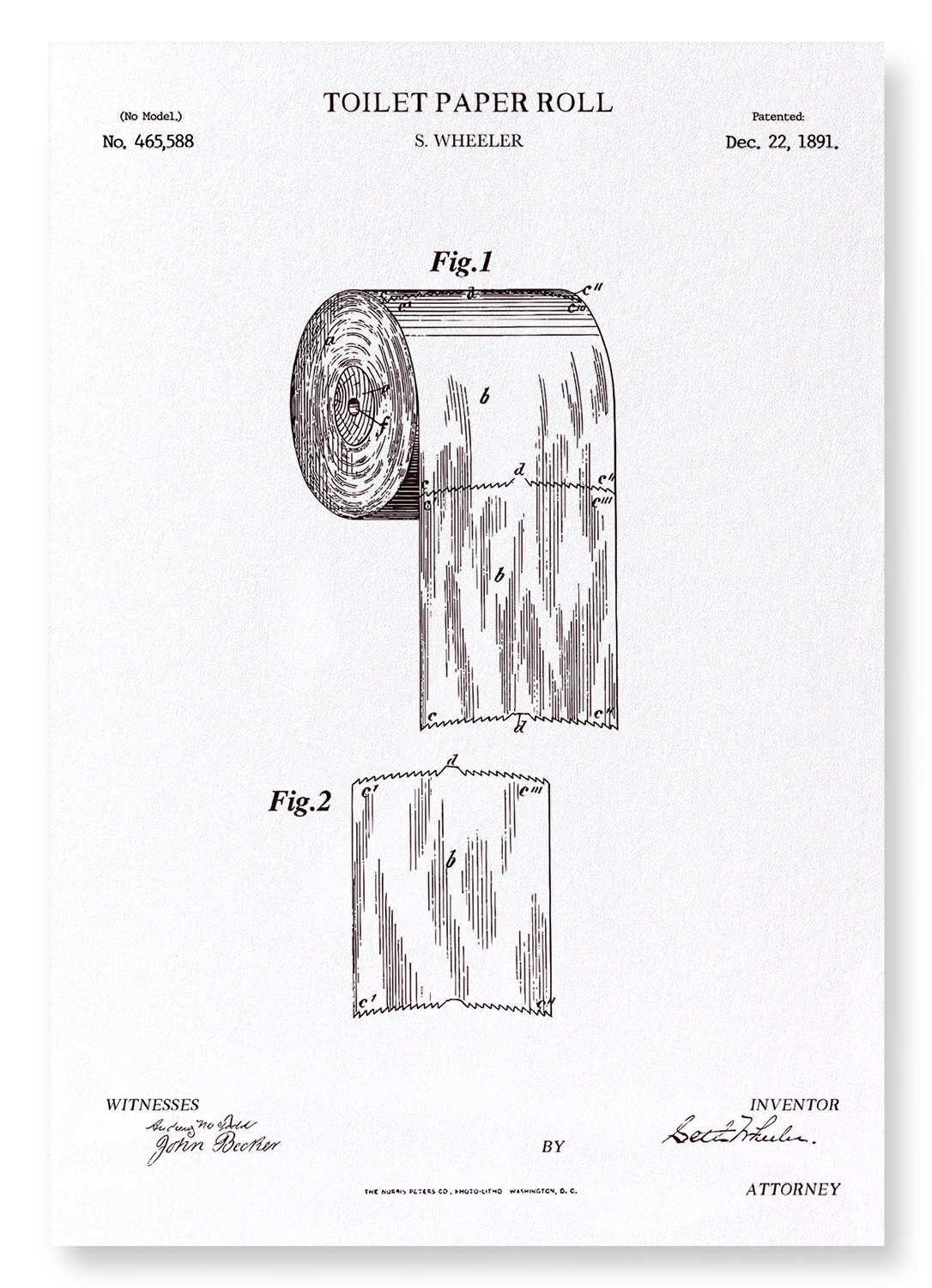 PATENT OF TOILET PAPER ROLL (1891): 2xPrints