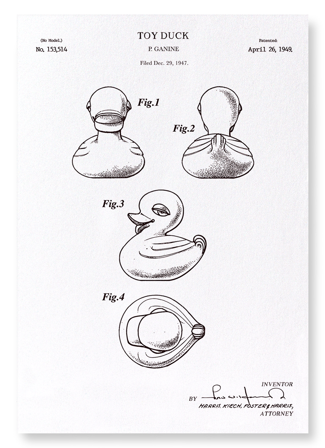 PATENT OF TOY DUCK (1949): 2xPrints
