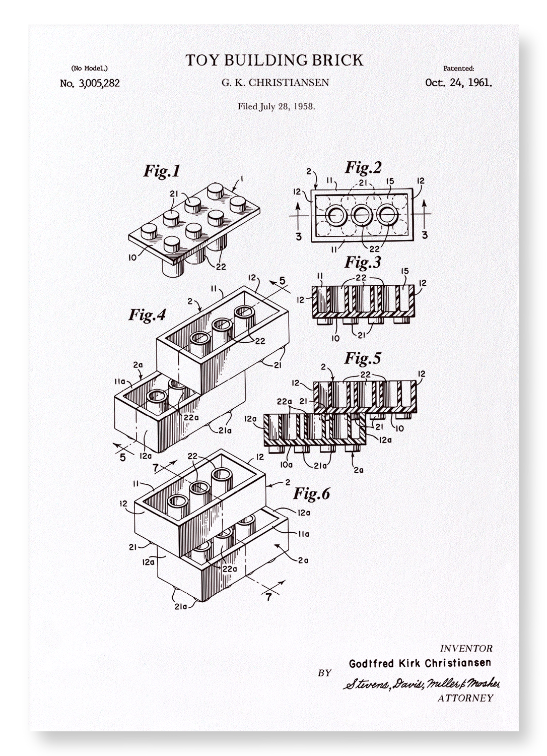 PATENT OF TOY BUILDING BRICK (1961): 2xPrints