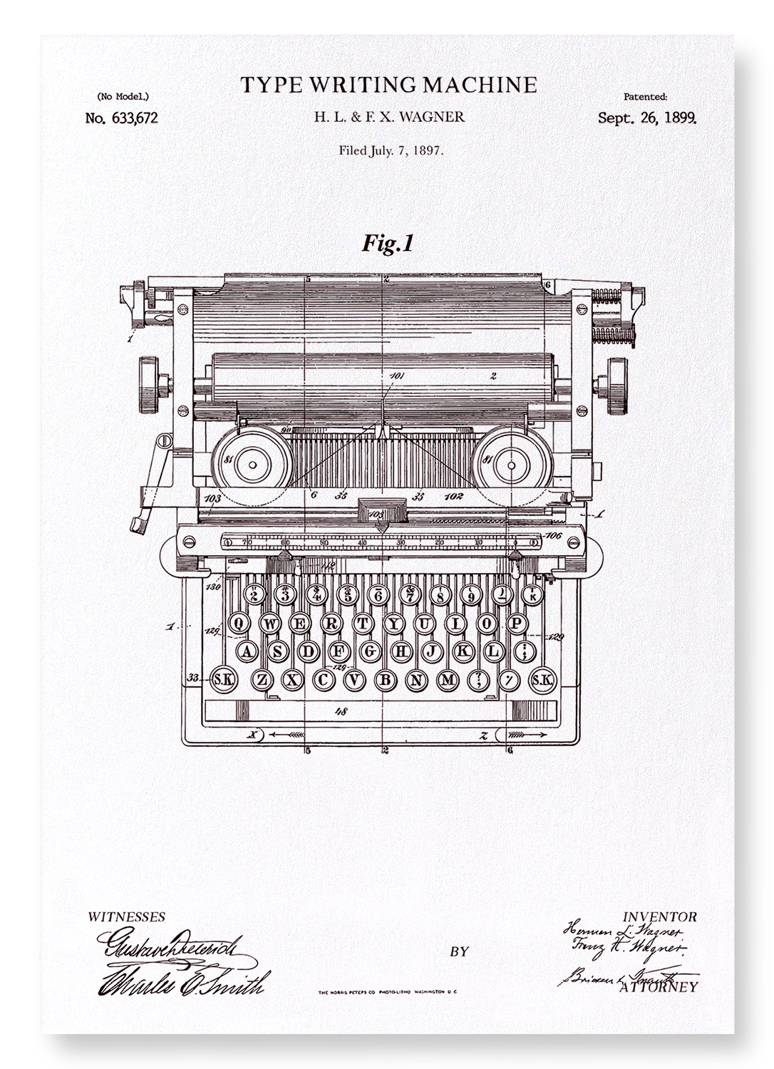 PATENT OF TYPE WRITING MACHINE (1889): 2xPrints