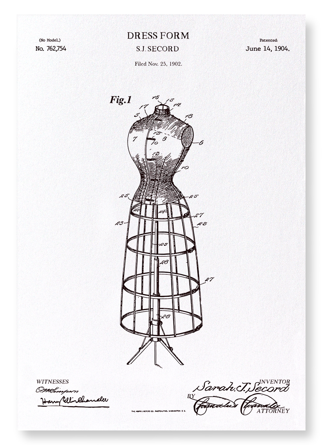 PATENT OF DRESS FORM (1904): 2xPrints