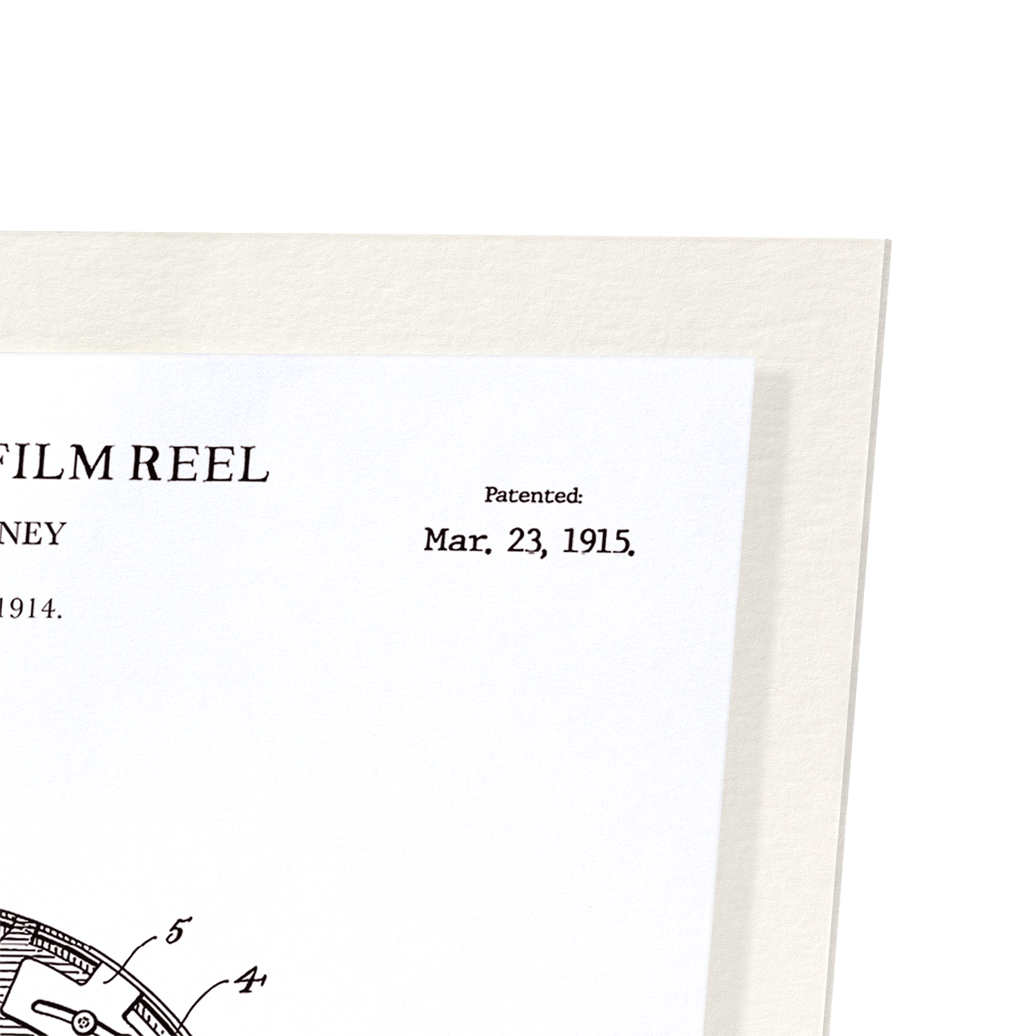 PATENT OF ADJUSTABLE FILM REEL (1915): 2xPrints