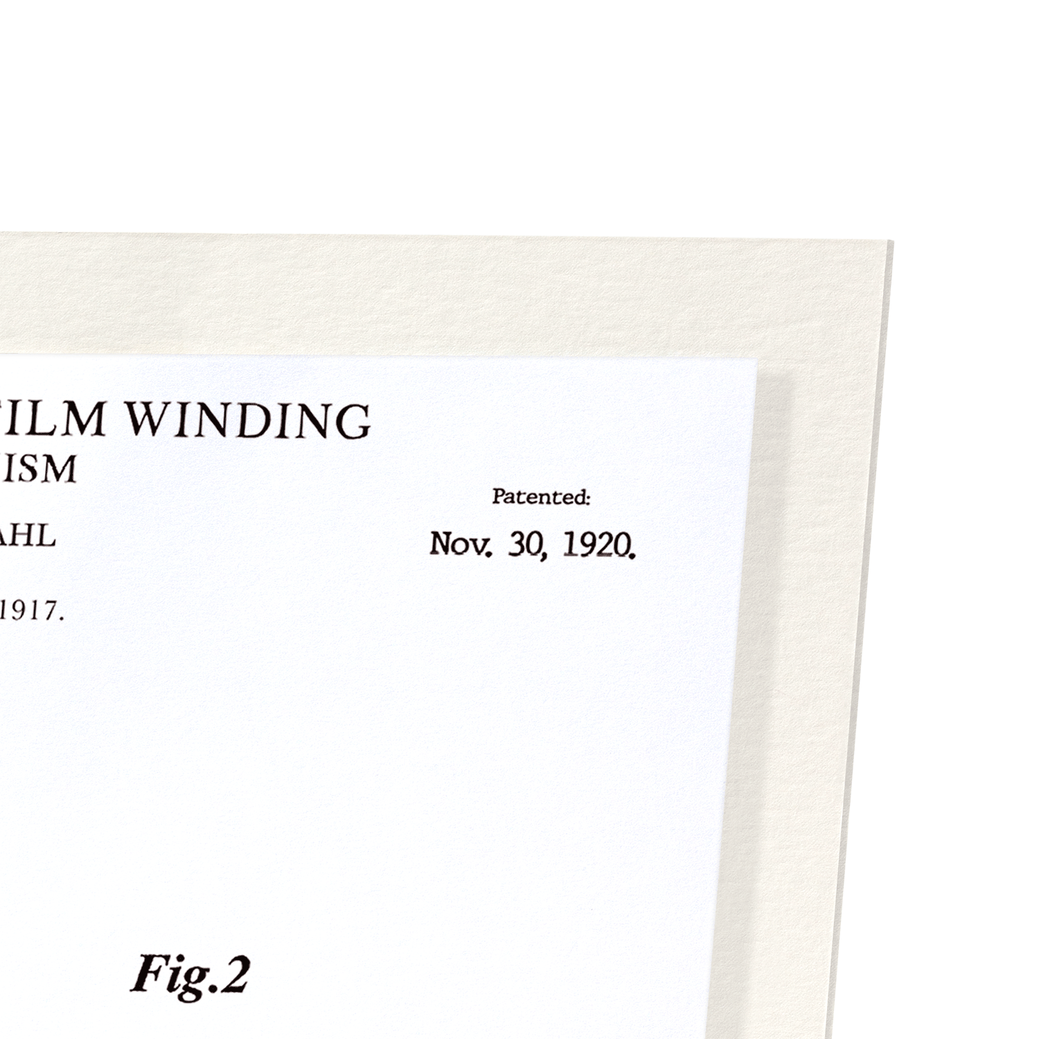 PATENT OF PHOTOGRAPHIC FILM WINDING (1920): 2xPrints