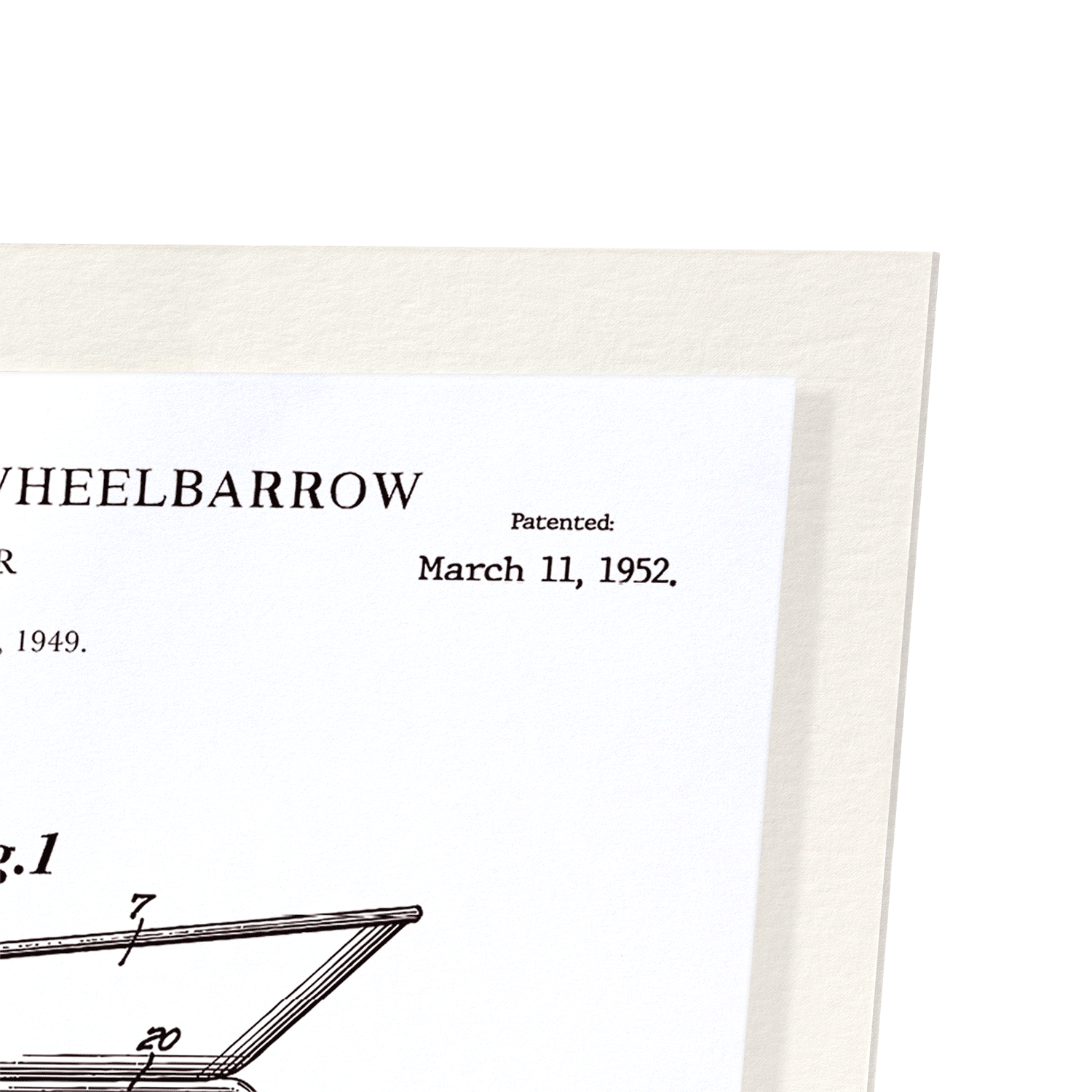 PATENT OF WHEELBARROW (1952): 2xPrints