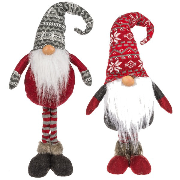 Grey & Red Long-Legged Gnome Figurines