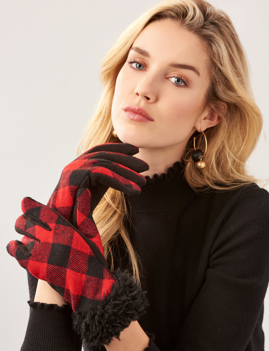 Polyester Woven Plaid Gloves