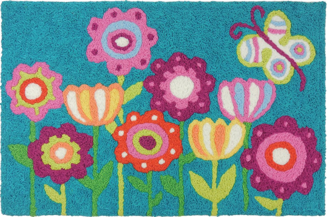 Flowers and butterfly Accent Mat