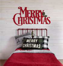 "Load image into Gallery viewer, Red Enamel ""Merry Christmas"" Wall Decor with Holly & Berry"