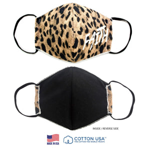 100% COTTON MADE IN THE USA FAITH LEOPARD 3D FABRIC FACE MASK