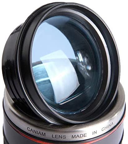 Tmango Camera Lens Coffee Mug with Translucent Lid, Stainless Steel, 15-Ounce Black