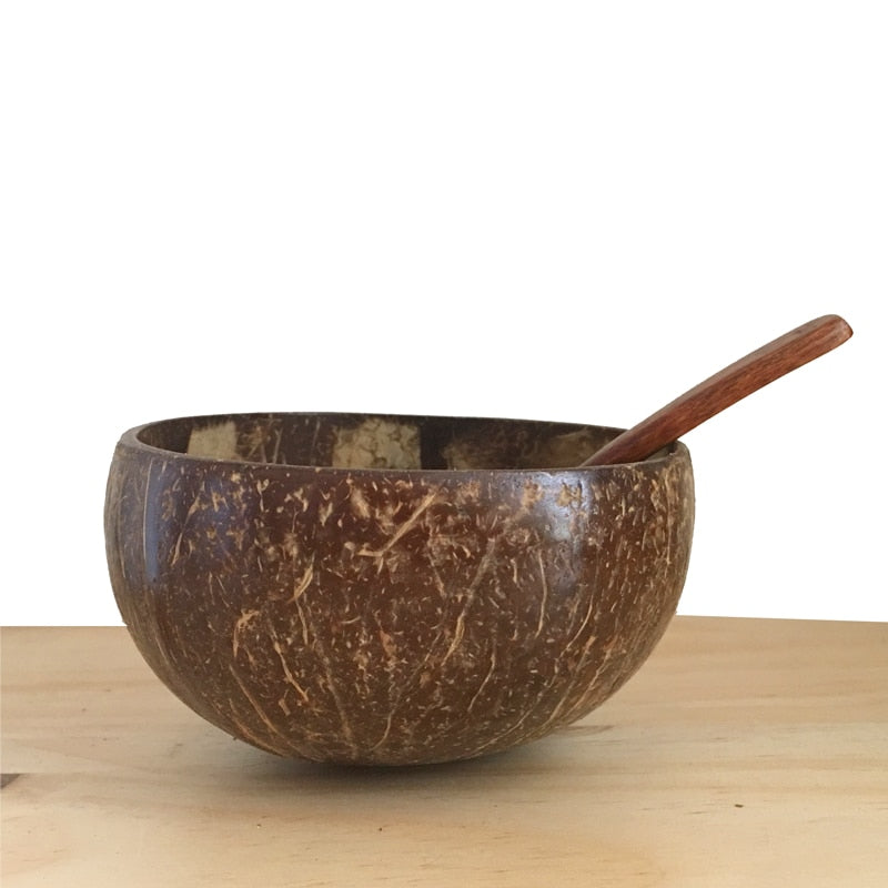 Creative Natural Coconut Wood Bowl Eco Friendly Fruit Salad