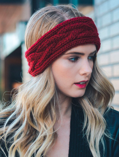 Soft Red Cable Knit Headband
