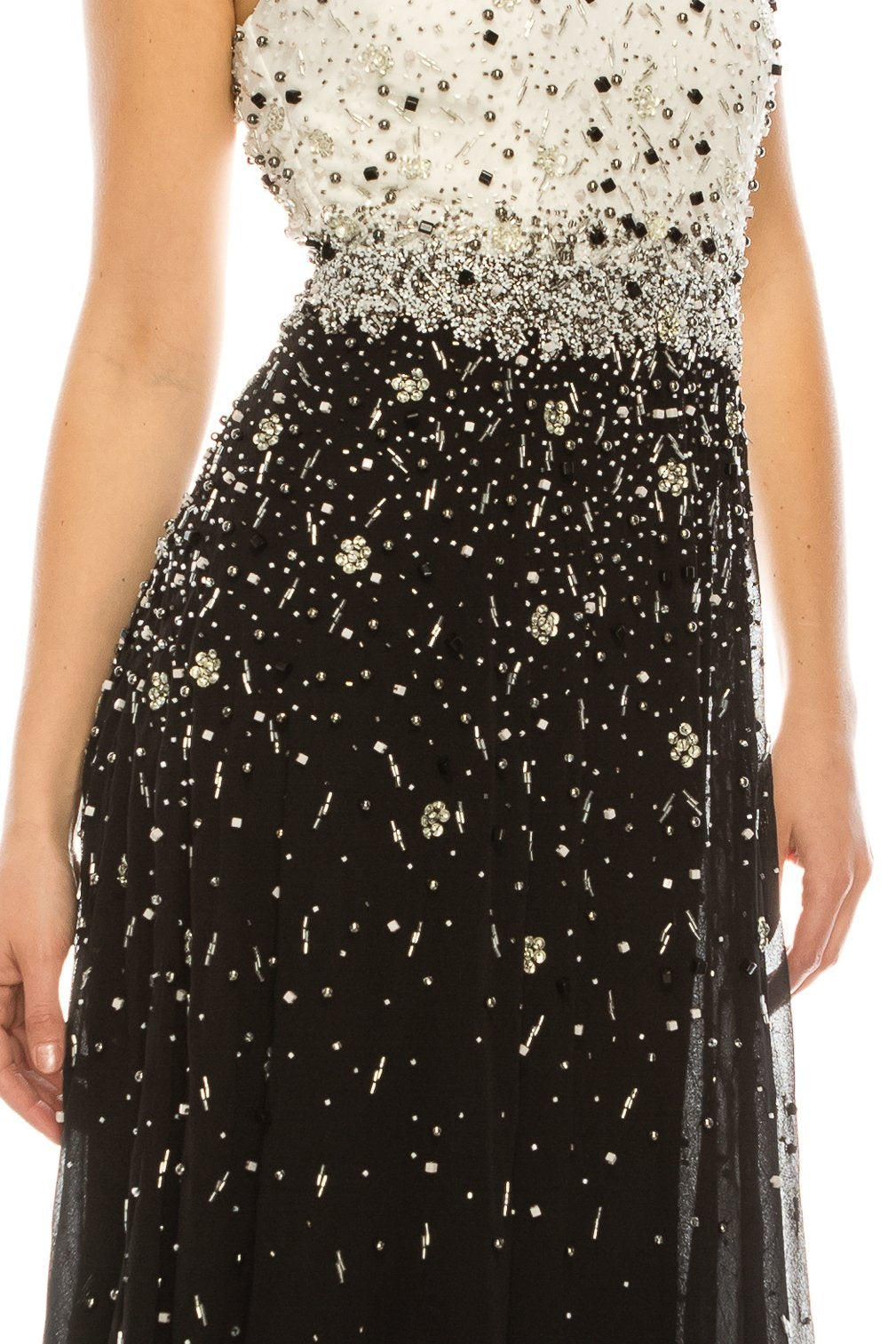 Aidan Mattox Ivory Black Beaded High Square Neck Evening Dress