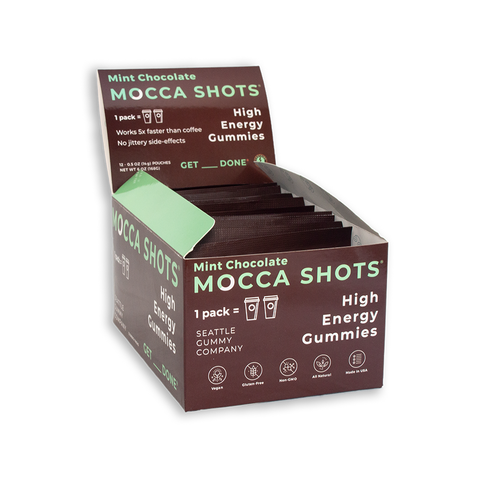Mocca Shots Mint Chocolate Caffeine Gummy 12-pack 12x2 shots
