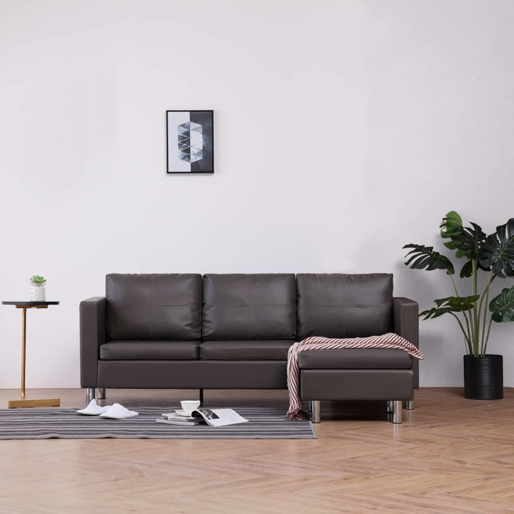 3-Seater Sofa with Cushions Gray Faux Leather