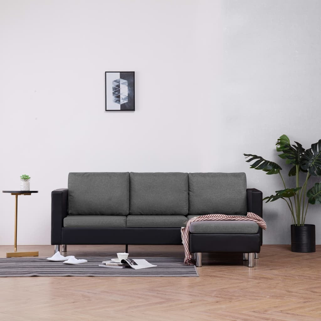 3-Seater Sofa with Cushions Black Faux Leather