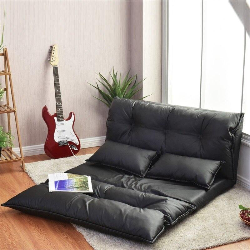 Foldable PU Leather Leisure Floor Sofa Bed W/ 2 Pillows Stylish