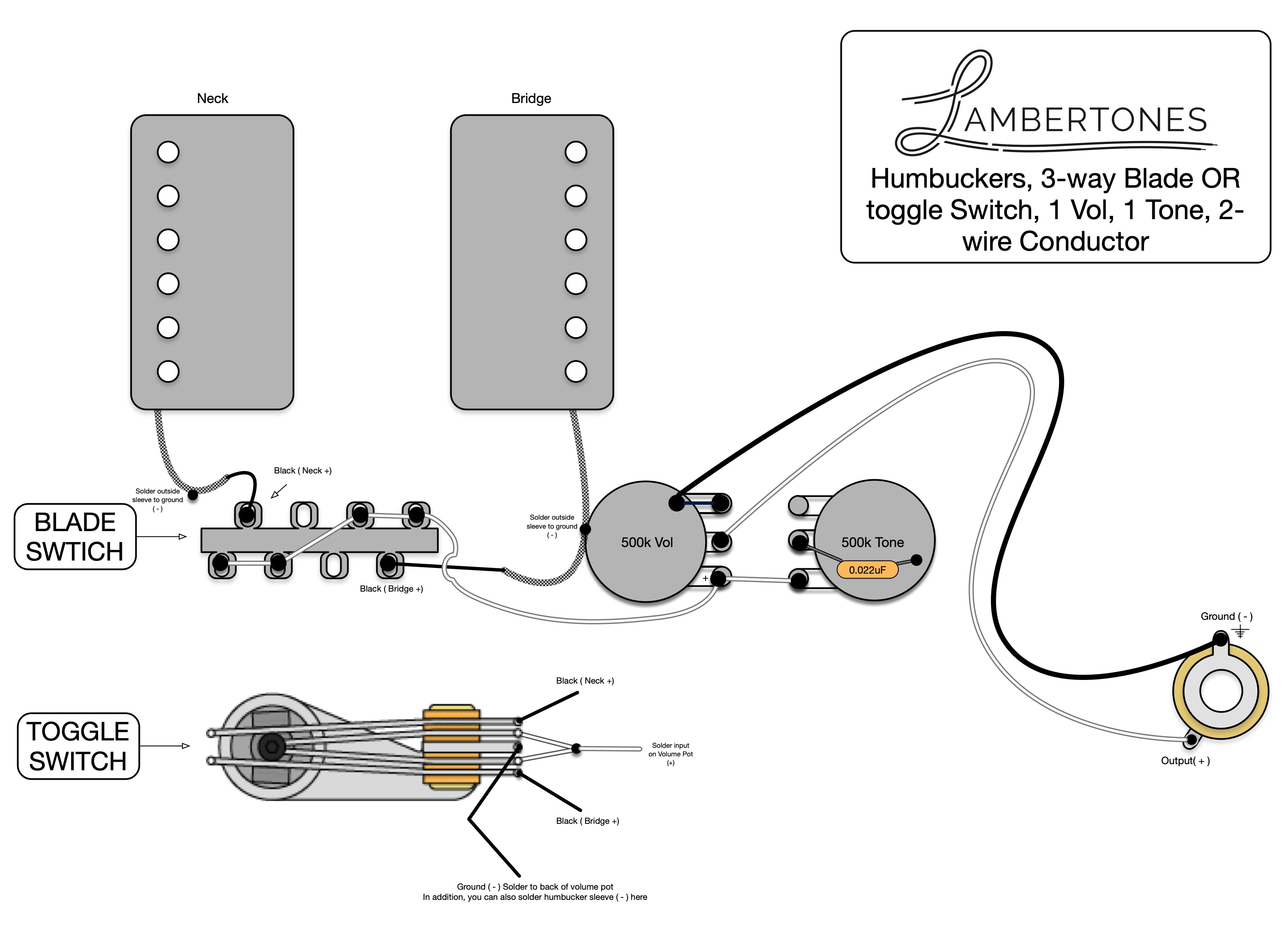 Wiring Diagrams - Humbucker – LAMBERTONES, LLC | Two Humbucker W 1 Volume And 2 Tone 5 Way Switch Wiring Diagram |  | LAMBERTONES, LLC