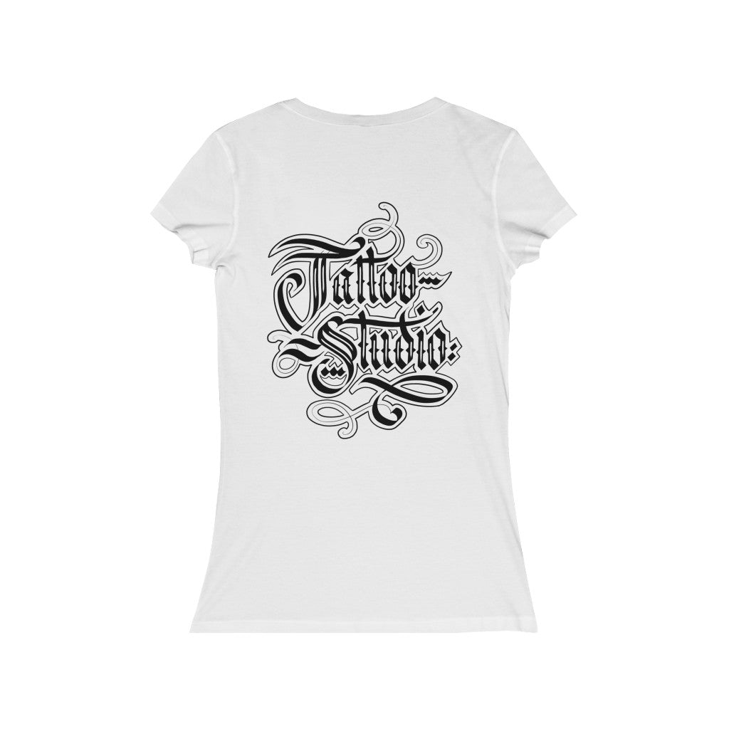 Women's Tattoo Studio Hand-Letter V-Neck